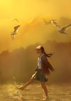Let's Fly Away by Krisahe on DeviantArt on imgfave Girls Cartoon Art, Girly Art, Animation Art, Dreamy Art, Cute Art, Anime Scenery, Art, Digital Art Illustration, Cartoon Art