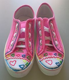 Pink Canvas shoes with hearts Vans Classic Slip On, Your Shoes, Have Fun, Hearts, Canvas, Sneakers, Pink, Fashion, Tela