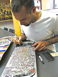 Ben Harper writes the lyrics to Burn One Down on X Games Champion Bob Burnquist's personal skateboard. This skateboard and many other collaborations from top skaters and Grammy Award-winning artists are being auctioned to benefit the Tony Hawk Foundation and its mission to bring free public skateparks to at-risk youth throughout the U.S. www.boardsandbands.org