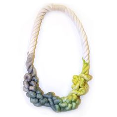 Dipped Rope Necklace --Gray and Lime. Nautical knots!....It looks like intestines.