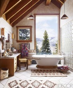 Peek inside Ralph Lauren fashion exec Buffy Birrittella's rustic Utah retreat, where heavy layering makes for a chic and cozy stay.