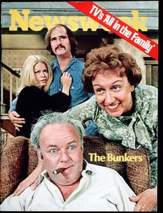 "America may not be ready for CBS's ""All in the Family,""…the curtain opens with a lusty hippie type strenuously trying to drag his microskirted wife into bed before her folks come home from church.  Mom (Jean Stapleton) and Dad (Carroll O'Connor) arrive in time to thwart them.  In short order, his Dad calls his son-in-law a ""dumb Polack,"" malignes Jews, blacks and Puerto Ricans.  ""Family"" is clearly a long walk from ""Father Knows Best.""    Newsweek January 18, 1971"