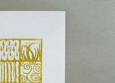 forces  linocut print gold nature tree raindrops by MessyBedStudio, $15.00