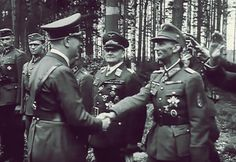 Hitler shakes with one of the very few generals he genuinely liked. Generalobesrt Eduard Dietl, famous mountain troops commander, was an ardent Nazi and one of the very few who could crack a joke with the Fuhrer.  He was killed in 1944 in an air crash in Austria.