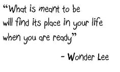 What is meant to be will find its place in your life when you are ready. - Wonder Lee