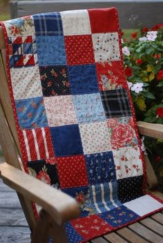 love the idea of small quilts on the rocking chairs (could double as table runners.)