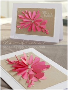 How to make paper flower craft that you can use as wall décor or table centerpiece? You can make different types of paper flowers from paper flower te. Cute Cards, Diy Cards, Pretty Cards, Flower Cards, Paper Flowers, Tarjetas Diy, Heart Cards, Paper Cards, Creative Cards