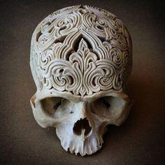 Carved human skull by artist Rachel Lee