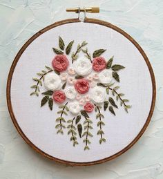 Wonderful Ribbon Embroidery Flowers by Hand Ideas. Enchanting Ribbon Embroidery Flowers by Hand Ideas. Floral Embroidery Patterns, Crewel Embroidery Kits, Simple Embroidery, Learn Embroidery, Japanese Embroidery, Silk Ribbon Embroidery, Hand Embroidery Designs, Vintage Embroidery, Wedding Embroidery