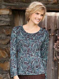 Printed Silk Cotton Long Sleeve Tee | WinterSilks #Silk #Tee