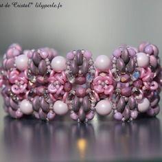 Bracelet rose perles swarovski eléments perles cristal bohème perles fantaisie à deux trous czechmates rocailles