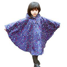 (ハイハート)Hiheart キッズ レインポンチョ 防水 雨具 可愛い 女の子 レインコート カッパ 通園 通学用 ブルー L