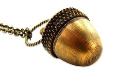 Antique Brass Acorn Capsule Pendant Necklace *** You can get additional details at the image link. #ILoveJewelry