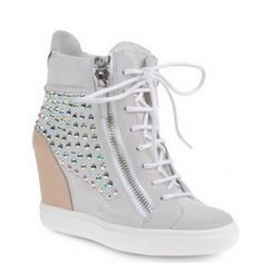 Sneakers Women  High-top sneakers in white suede and sand calfskin with a concealed platform, two zippers at sides and iridescent rhinestones. Youthful and casual, these sneakers are perfect for both daytime and evening, paired with a miniskirt or hot pants. Heel height: 9.0 Composition: Leather