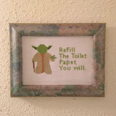 Yoda Bathroom Advice Cross Stitch Pattern: Buy 1 Pattern get your 2nd Pattern for 1 DOLLAR! by DuctTapeStitches on Etsy https://www.etsy.com/listing/217628321/yoda-bathroom-advice-cross-stitch