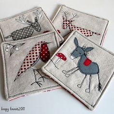 Christmas fabric coasters, but you could make a whole bunch (a pair of each type), and use them as cards for the memory game for the kids.