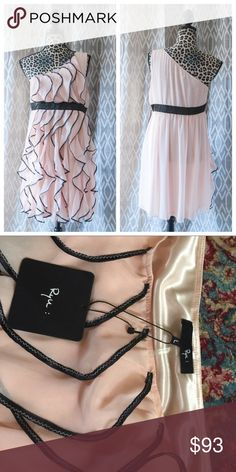 Rye Blush Dress w/ ruffles Large Rye Blush Dress w/ ruffles Large. NWT Never worn! NEW! Offers accepted. (Not cream/nude or pink. Somewhere in the middle) Side zip! Dresses One Shoulder