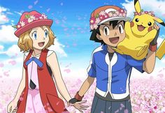 Serena and Ash with Pikachu at Field of Flowers. New Amourshipping Movie Poster by WillDynamo55 on DeviantArt (edit by I.Z Raptor from Pinterest).