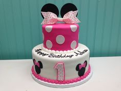 2-Tier Minnie Mouse Cake Minnie Mouse Cake, Cake Gallery, Mouse Parties, Custom Cakes, Cake Cookies, Birthday Cake, Sweet, Desserts, Food
