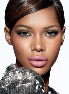 Gold and green eyes with pink lips, soft colour play perfect for bridal - wedding makeup for black/African American women