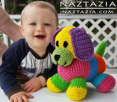 Crochet colorido juguete Amigurumi perro para el bebé