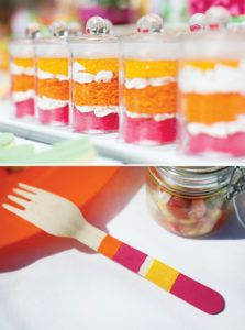 DIY painted stripes on wooden forks and utensils