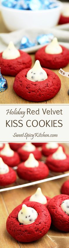 Holiday Red Velvet Kiss Cookies This is a recipe for cookies ideal for the holidays to come, like New Year's Eve, Christmas or Valentine's Day. Holiday Red Velvet Kiss Cookies are delicious cookies made with Cookies 'n Cream Hershey's Kisses ♥ Desserts Menu, Cookie Desserts, Holiday Desserts, Holiday Cookies, Holiday Treats, Holiday Recipes, Cookie Recipes, Christmas Recipes, Christmas Ideas