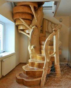Wood slab staircase