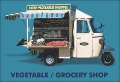 Food Cart Design, Food Truck Design, Fruit And Veg Shop, Vegetable Shop, Pop Up Restaurant, Piaggio Vespa, Mobile Business, Car Posters, Fresh Vegetables