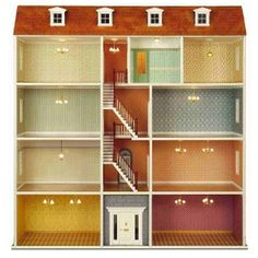 House dimensions:Width 126 cm x Height 131 cm x Depth 34 cm.Interior room dimensions (WxD):Small rooms: 450 mm x 300 mm (left side of the house)Large rooms: 494 mm Drill Holder, Victorian Windows, Hall Flooring, Box Houses, Cardboard Furniture, Banisters, Kit Homes, Double Doors, Wood Veneer