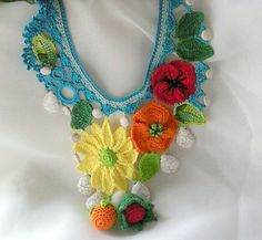 Summer inspiration, crochet statement necklace. $60.00, via Etsy.