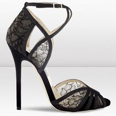 Jimmy Choo Fitch 120mm Black Fine Glitter and Lace Sandals