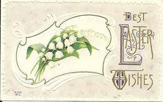 1910s Best Easter Wishes Gold Leaf Flowers Scrollwork Postcard-49¢    J25 #Easter