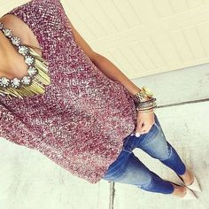 Wine Print Tank Skinny Ripped Jeans Cream Pumps by For The Love Of Fancy