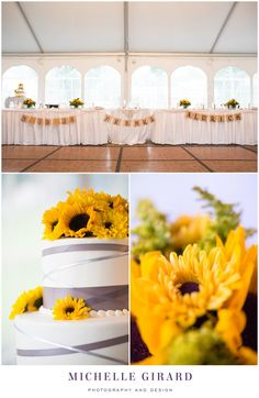 Sunflower :: Yellow and Grey Details :: Grey Ribbon on Wedding Cake :: Fall Tent Wedding Reception on a Rainy Day :: Charming New England Inn Wedding at The Lord Jeffery Inn in Amherst, Massachusetts :: Michelle Girard Photography and Design