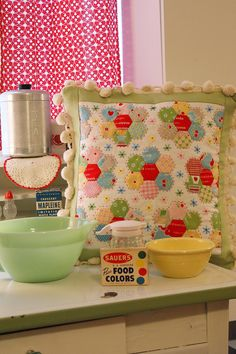 Sew Hexie cushion made with Bake Sale fabric. Pattern by Lori Holt