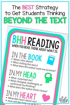 A Simple Reading Strategy to get Students Using Their Heads and Hearts - The Reading Roundup Close Reading Strategies, Comprehension Strategies, Reading Resources, Teaching Reading, Guided Reading, Kindergarten Writing, Reading Activities, Reading Comprehension, Learning