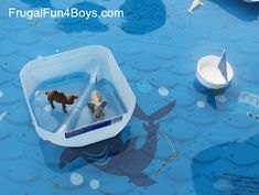 Build boats out of recycled materials - cut styrofoam cups and/or plastic milk jugs