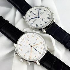 ⌚Perfect Portuguese⌚  #IWC #Portuguese #Chronograph ref. #IW371446 and #IW371445 in stainless steel. Essentially the same model but one has blue arabic numbers, hour, minute and small second hands. The other in rose gold.  Which would you choose?