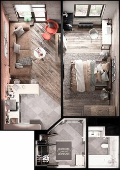 Bold Decor In Small Spaces: 3 Homes Under 50 Square Meters. Home Designing — (via Bold Decor In Small Spaces: 3 Homes Under These small apartments don't shy away from bold decor - these feature geometric, industrial, and modern themes. Studio Apartment Floor Plans, Studio Apartment Layout, Small Apartment Plans, Apartment Ideas, Studio Layout, Small Apartment Layout, Studio Design, Apartment Furniture, Garage Apartment Interior