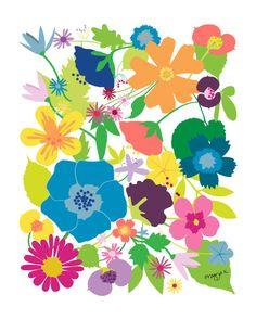 Floral art - Secret Garden - Flower illustration. $20.00, via Etsy.