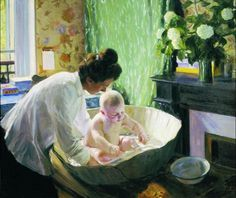 "russian-painting: ""Boris Mikhailovich Kustodiev - Morning, Oil on canvas, 108 x 126 cm. The State Russian Museum, St. Russian Folk Art, Laura Ingalls Wilder, Russian Painting, University Of Colorado, Childhood Obesity, Natural Birth, Realism Art, Mother And Child, Health Problems"