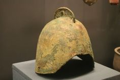 A Chinese bronze soldier's helmet, from the State of Yan, dated to the Zhou Dynasty period.
