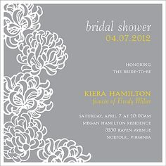 Blossoms -- Pewter Bridal Shower Invitation