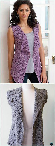 Drapey Crochet Vest Free Pattern - #Crochet; Women #Vest; Free Patterns