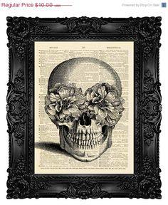 Skull Art Print Poster - SUGAR SKULL - on Etsy, $8.00