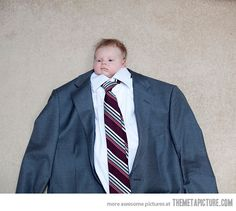 Best photo idea for a baby. Ever. Would be fun to do a newborn, then again at 2, 8, 12 and 19 with the same suit. Love this! This is so funny to me:)