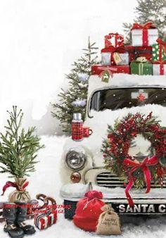 Noel Christmas, Merry Little Christmas, Vintage Christmas Cards, Country Christmas, Christmas Pictures, All Things Christmas, Christmas Crafts, Christmas Decorations, Christmas Truck