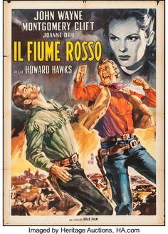 "Movie Posters:Western, Red River (Gold Film, R-1963). Italian 2 - Fogli (39.5"" X 55"").Western.. ..."