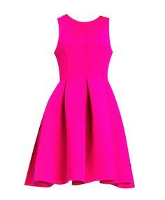Hot Pink Slim Fit Round Neck Sleeveless AQAQ Full Dress @ ChicNova $60